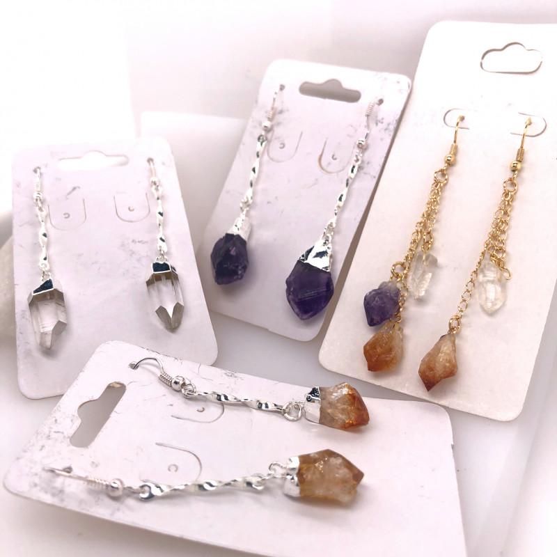 4 x Earrings Designs Raw : Amethyst, Citrine, Crystal - BR 1031