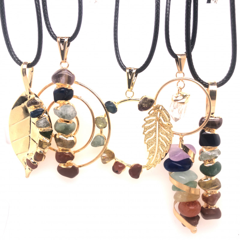 5 x Different Chakra Pendant Gold - BR 1042