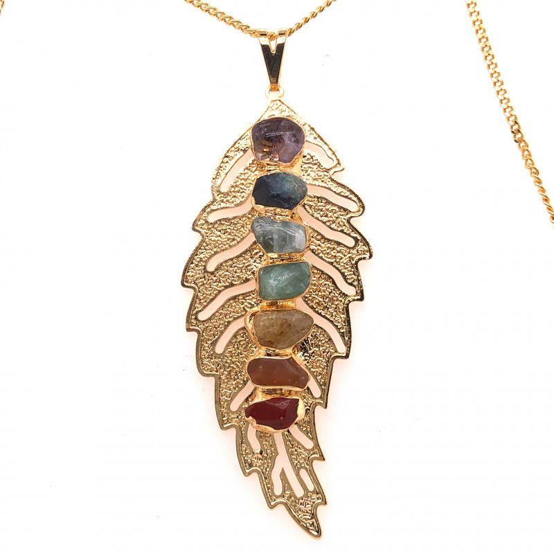 Leaf Seven Chakra - Natural stones - Golden Chain Pendant - BR 1048