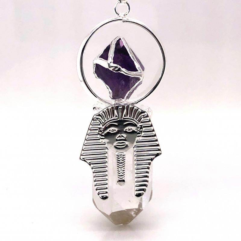 Pharaoh Crystal Terminated Point & Amethyst Pendant - BR 1079