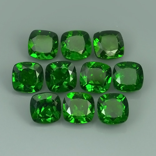 16.15 Cts Eye Catching Natural Rich Green Chrome Diopside Cushion 10 Pcs !!