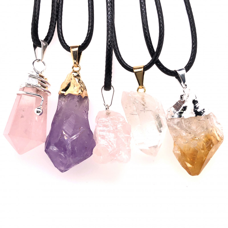 5 x Gemstones Quartz, Amethyst, Citrine and Crystal Pendants Set - BR 1120