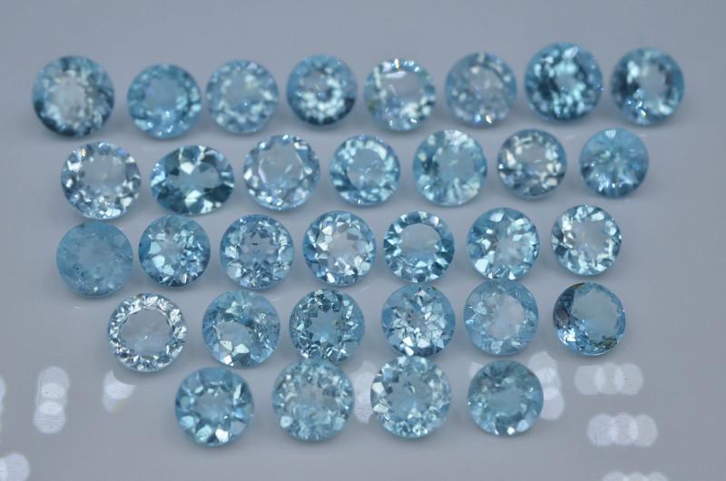 152.75 Ct Brilliant Color Natural Blue  Topaz  Swiss ~ LOT ~ 31 Pc