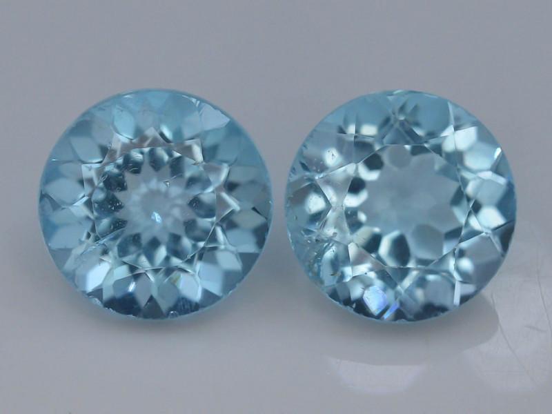 8.80 Ct Brilliant Color Natural Blue Swiss ~ Topaz ~ Pairs