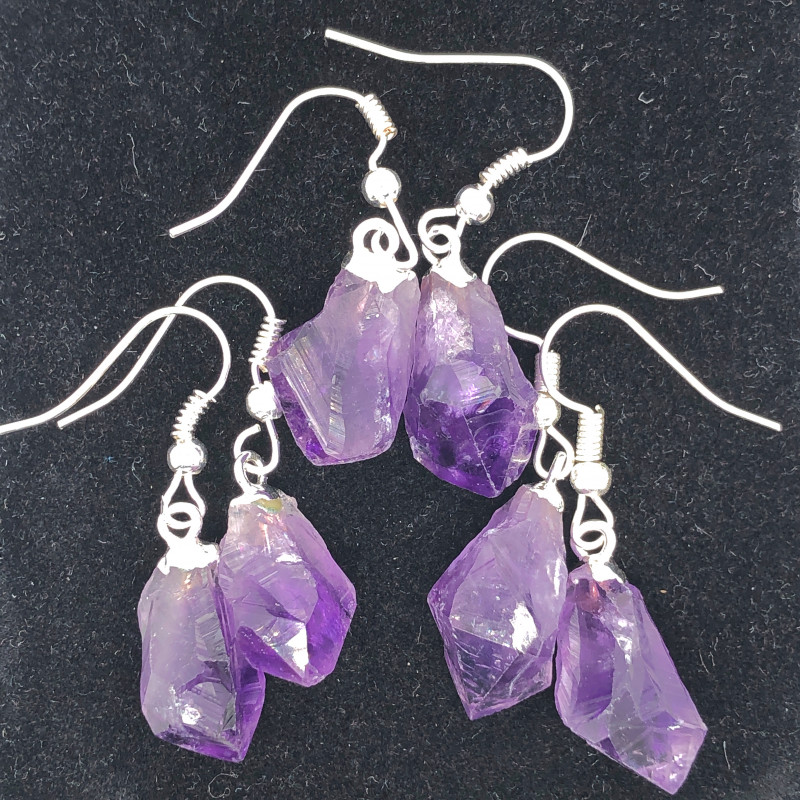 x 3 Terminated Point Amethyst Gemstone Drop Earrings - BR 1131
