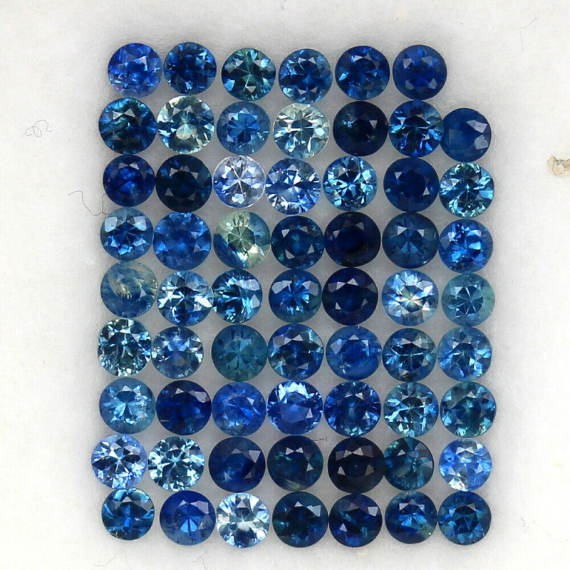 4.02 ct. 2.3-2.4MM.DIAMOND CUT BLUE SAPPHIRE NATURAL GEMSTONE 62 Pc.