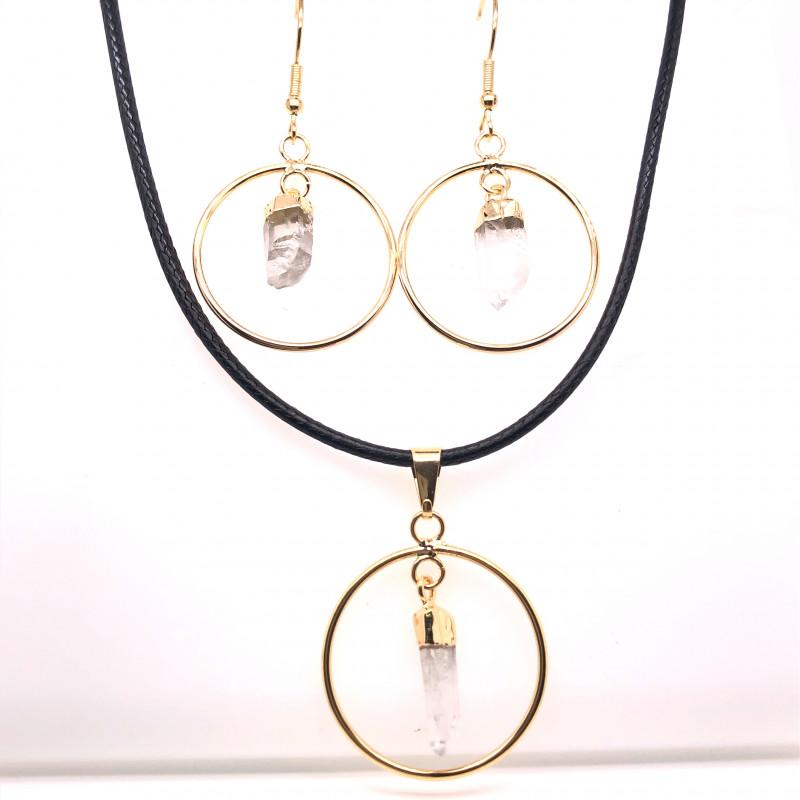 Raw Circle Crystal Set Pendant & Earrings - BR 1135