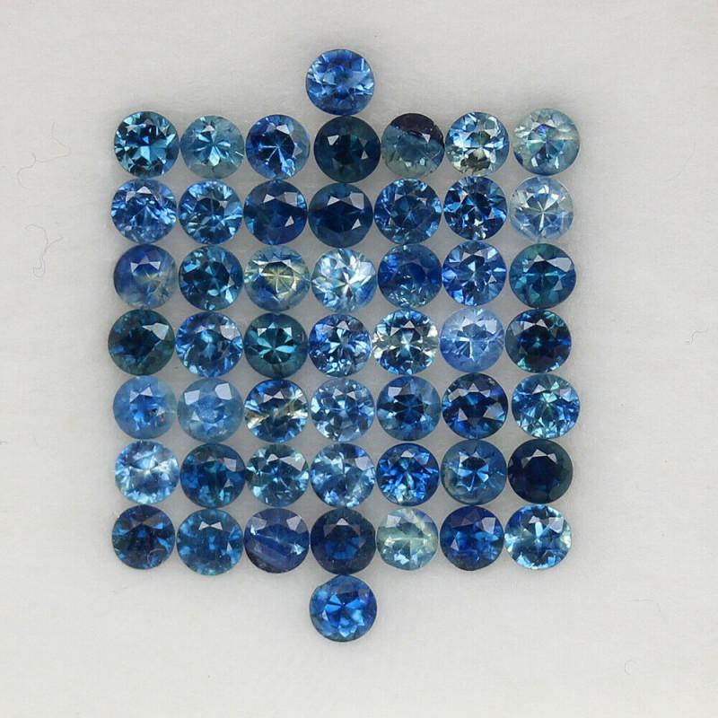 4.08 ct. 2.5MM.DIAMOND CUT BLUE SAPPHIRE NATURAL GEMSTONE 51PCS.
