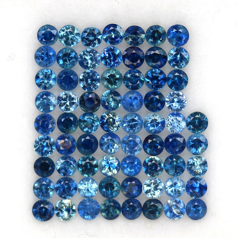 4.03 ct. 2.3MM.DIAMOND CUT BLUE SAPPHIRE NATURAL GEMTSONE NORMAL HEATED 68P