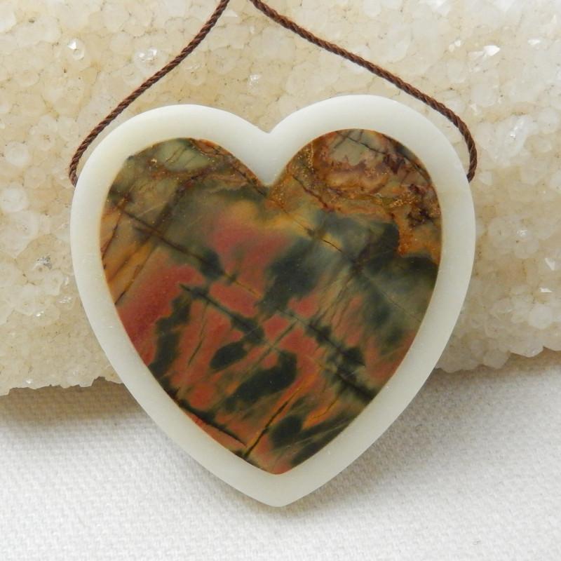 115ct New Design Heart Shape Multi-Color Picasso jasper And white jade Inta