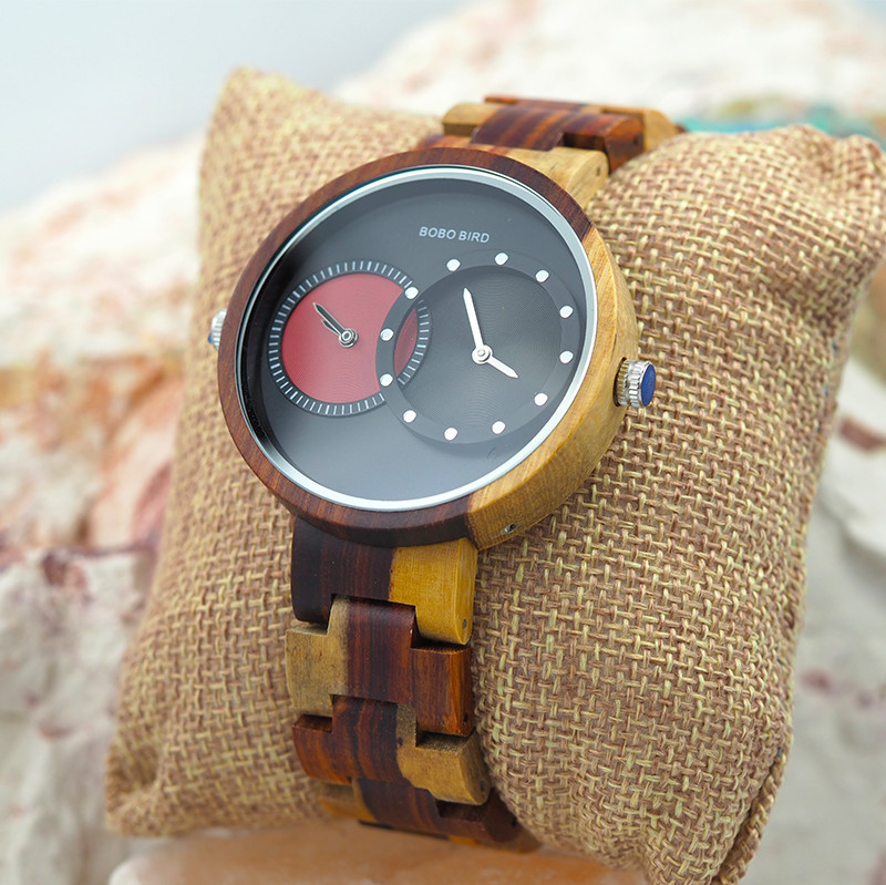 Wooden Watch - Multiple Time Zone - Black & Red - W003