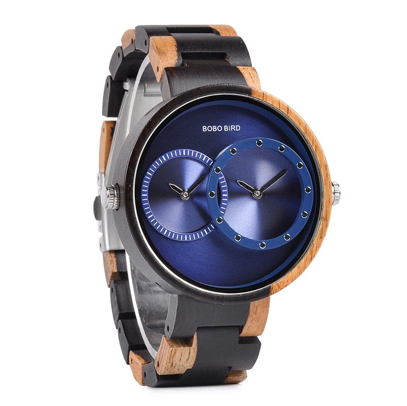 Bamboo Wooden Watch - Multiple Time Zone - Black & Blue - W002