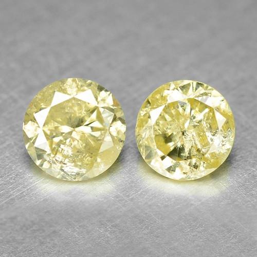 0.77 Cts 2.pcs UNTREATED  NATURAL YELLOW DIAMOND