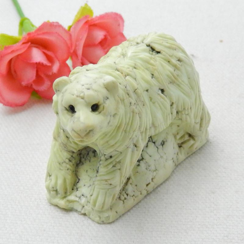 Handmade Carved Serpentine Bear Cabochon, Animal Gemstone Decoration E281
