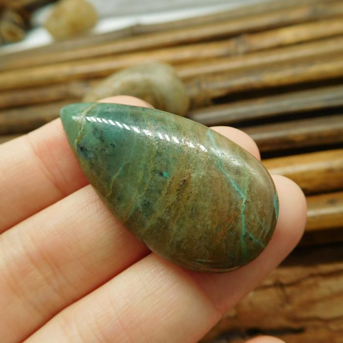Natural green chrysocolla cabochon (G1281)