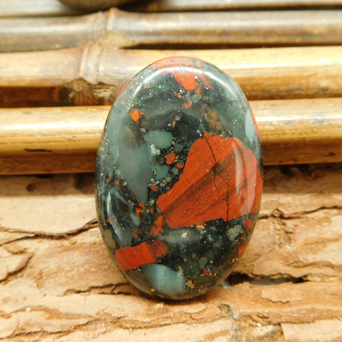 Oval gemstone cabochon african bloodstone bead (G1286)