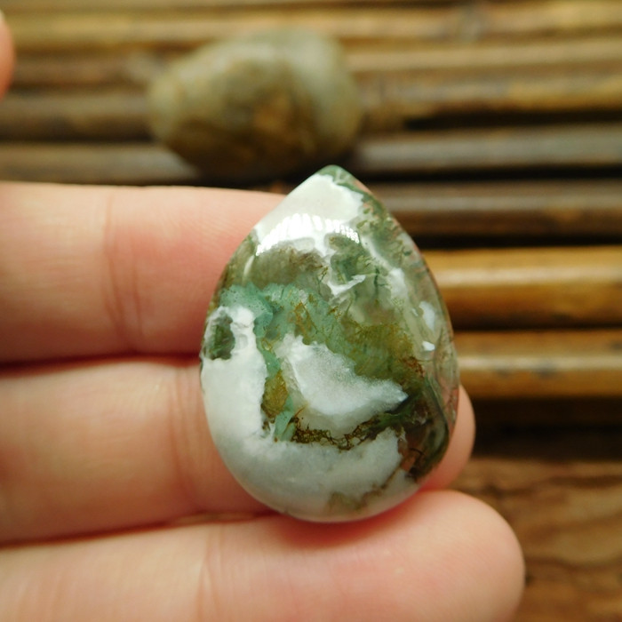 Teardrop moss agate cabochon jewelry making kit (G1298)
