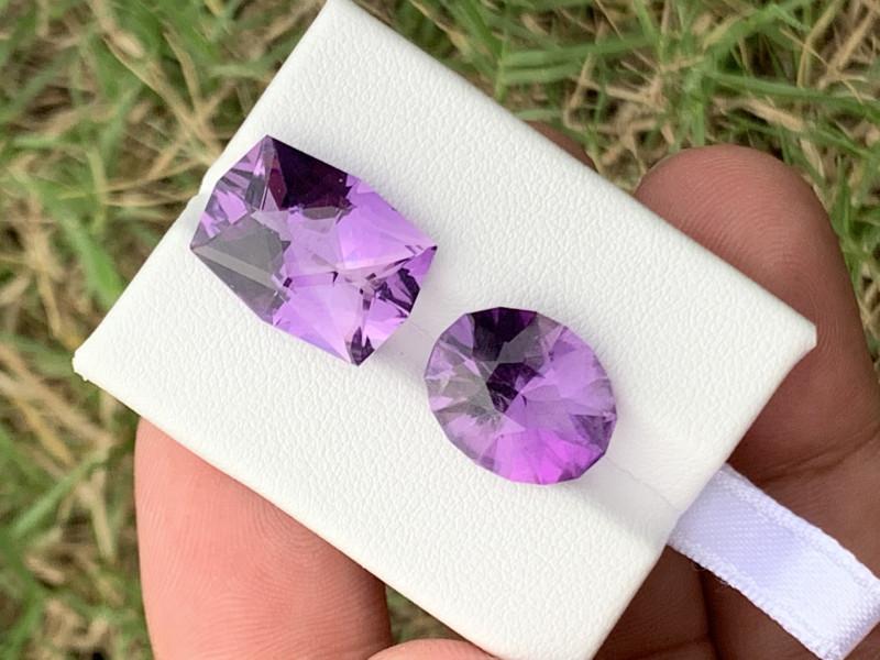 14.70 Carats fancy cut amethyst gemstones