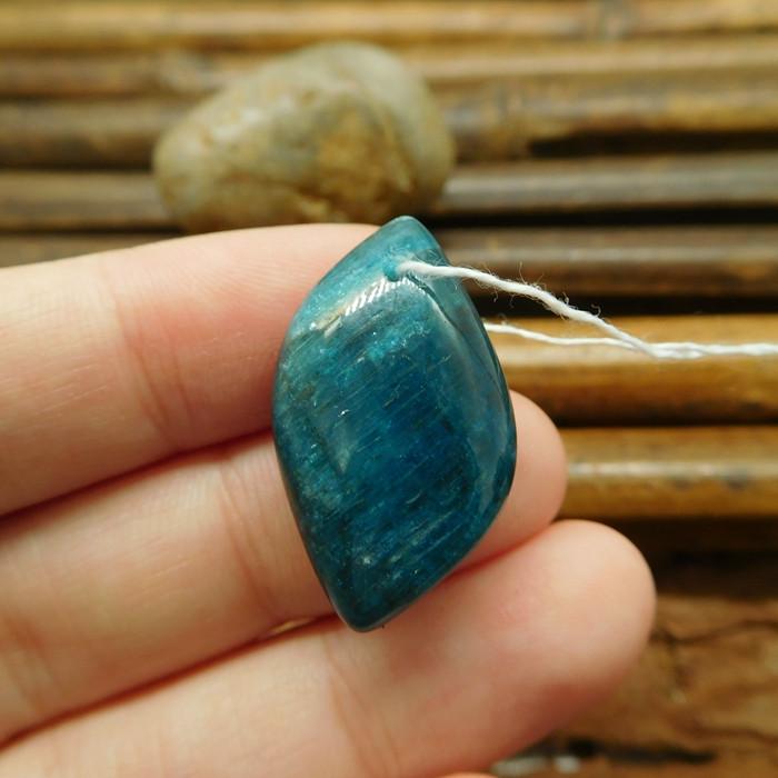 Natural blue apatite bead pendant (G1328)