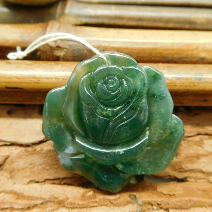 Fancy agate rose flower pendant bead (G1349)