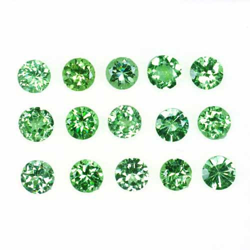 3.06 Cts Natural Mint Green Garnet 3.5mm Round Cut 15Pcs Tanzania