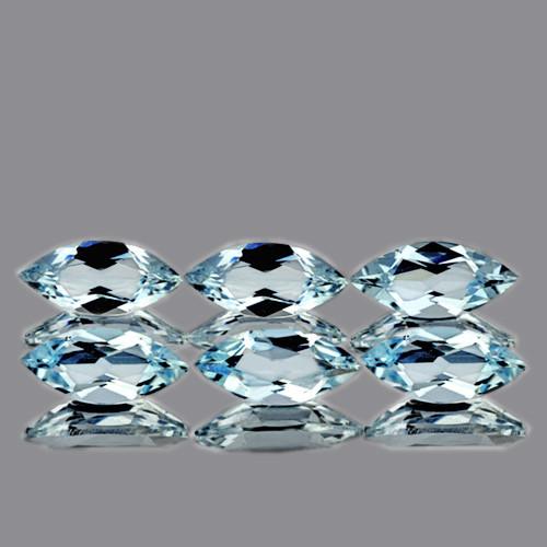 8x4 mm Marquise 6 pcs 2.67cts Light Blue Aquamarine [VVS]