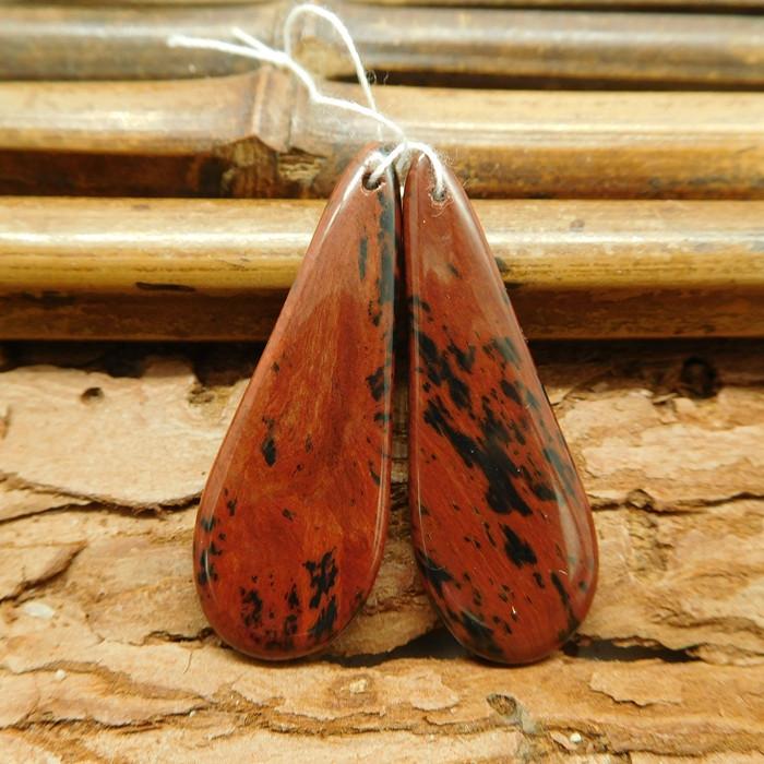 Mahogany obsidian gemstone earring bead (G1358)