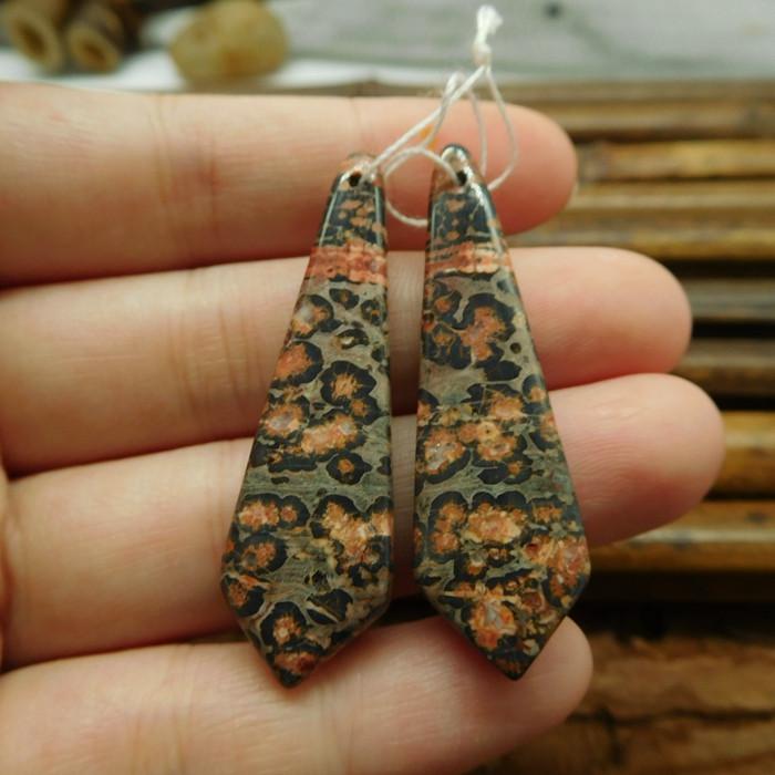 Leopard skin pair earring pair gemstone bead (G1360)