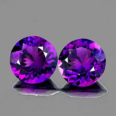 8.00 mm Round 2 pcs 3.55cts Purple Amethyst [VVS]