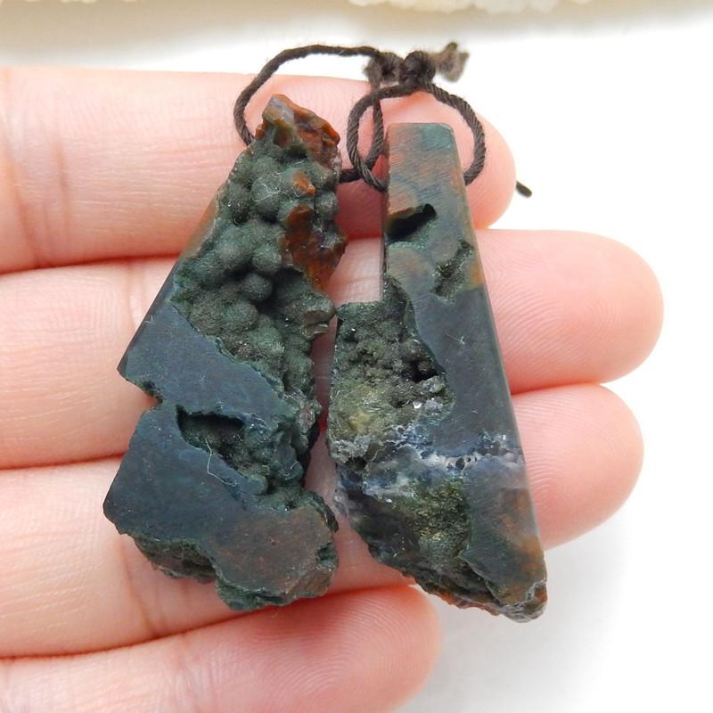Nugget Ocean Jasper Earrings Beads, stone for earrings making, 39x14x10mm H