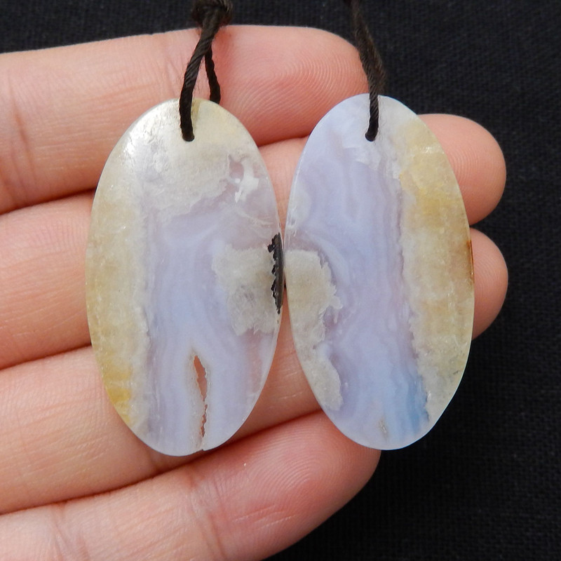 Natural Blue Lace Agate Oval earrings beads, stone for earrings making H893