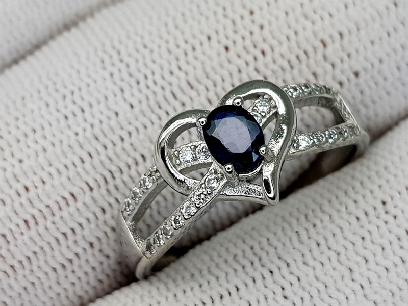 15CT BLUE SAPPHIRE 925 SILVER RING 9 IGCSR03