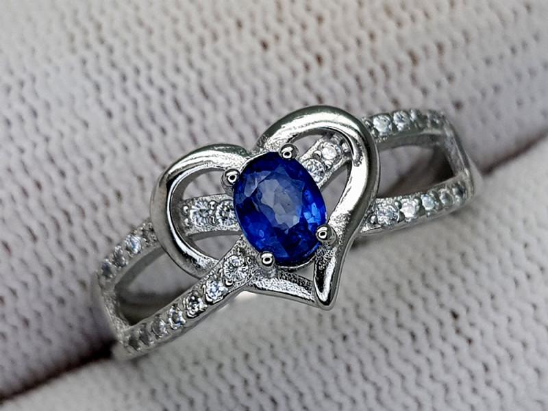 15CT BLUE SAPPHIRE 925 SILVER RING 8 IGCSR07
