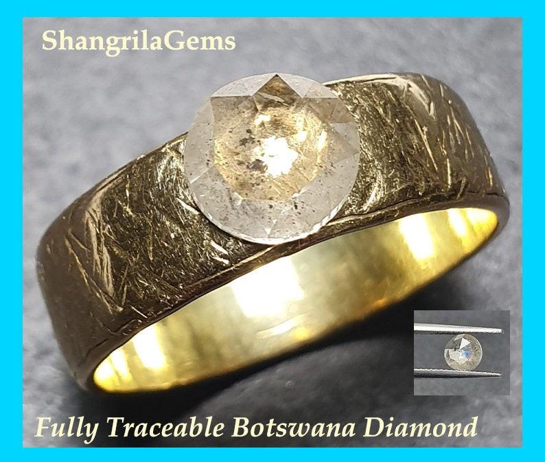 0.80ct 6.7mm Light grey Salt and Pepper round rose cut diamond from Botswan