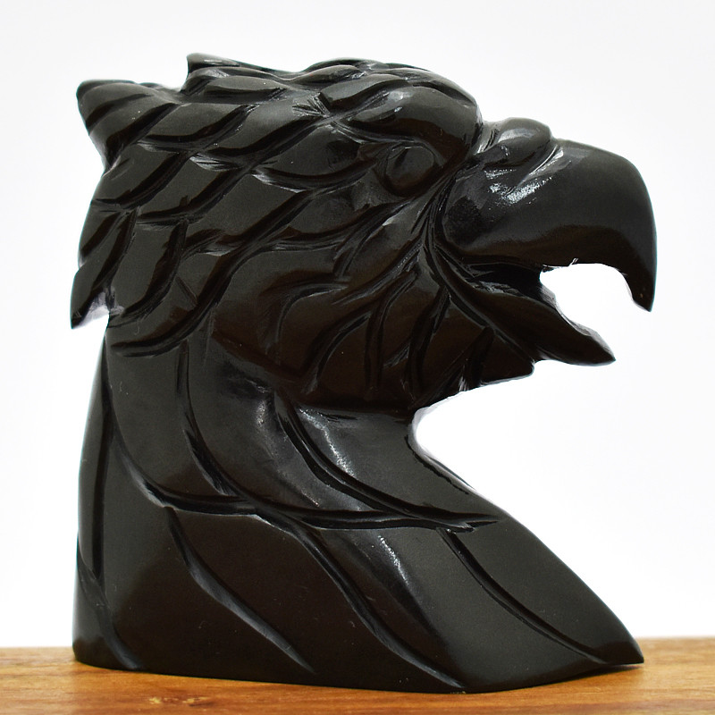 Genuine 705.00 Cts Black Spinel Eagle Head