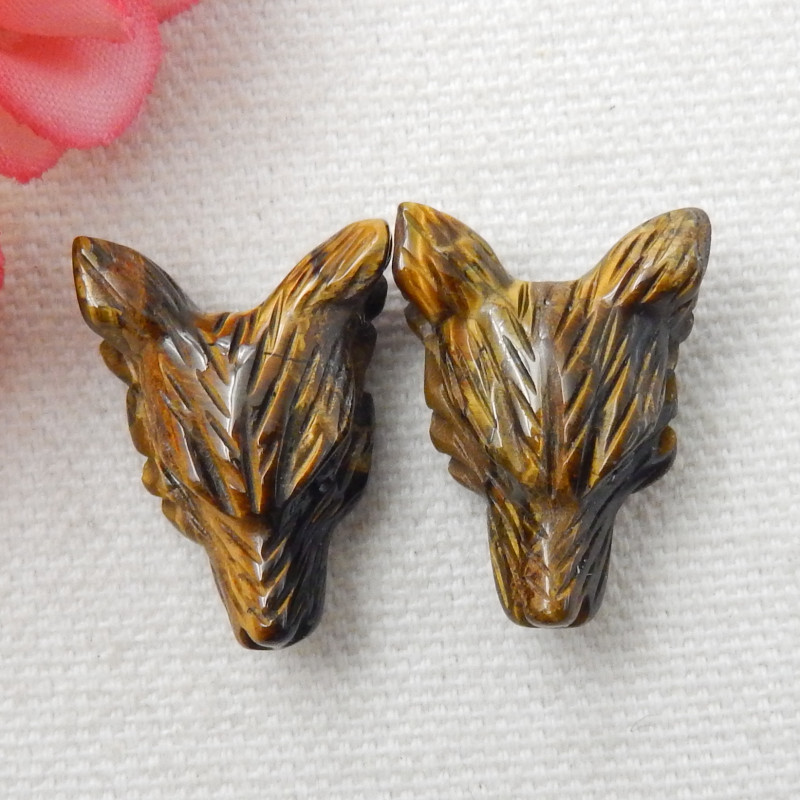 2pcs carved  Hand Carved Wolf Pendant ,Tiger Eyes  Wolf ,Wolf Head Pendant