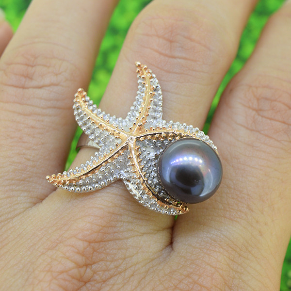 Artisan Sea Star Cocktail 925 Sterling Silver Ring SIZE 7 (SSR0585)