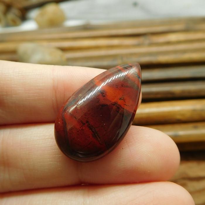 Teardrop cabochon red jasper bead (G1514)