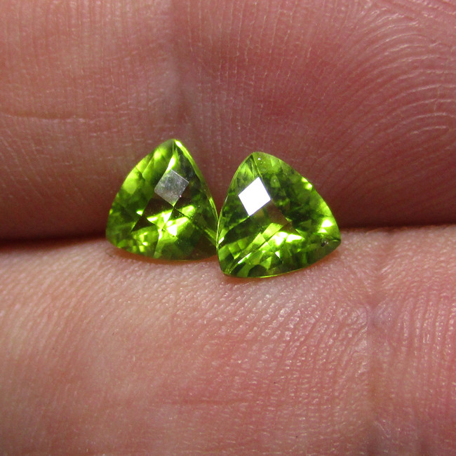 1.56tcw Natural Peridot Matching Checker Board Trillion