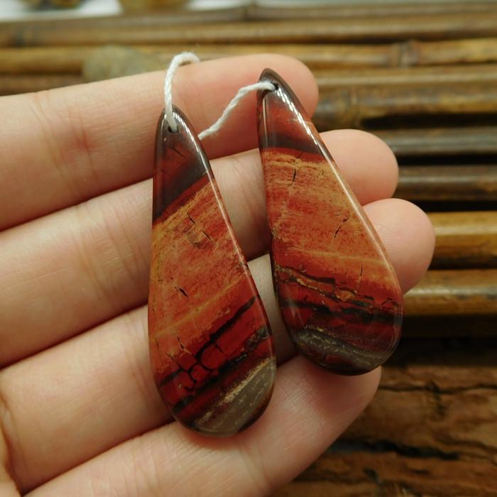 Handmade gemstone earring red jasper bead (G1539)