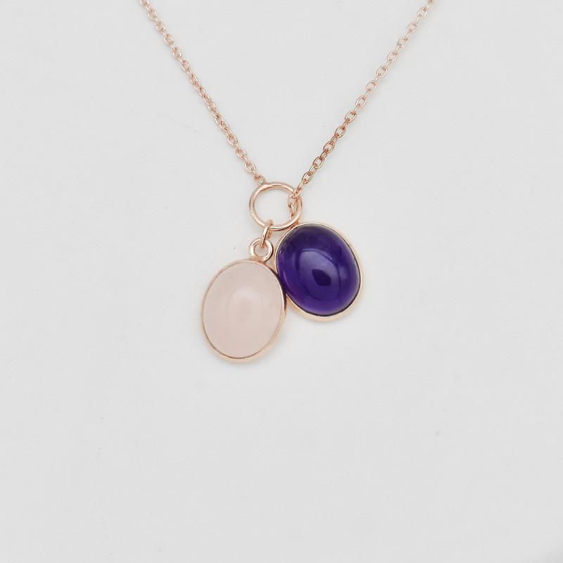 Natural Quartz Pendant Necklace with 21 inch chain