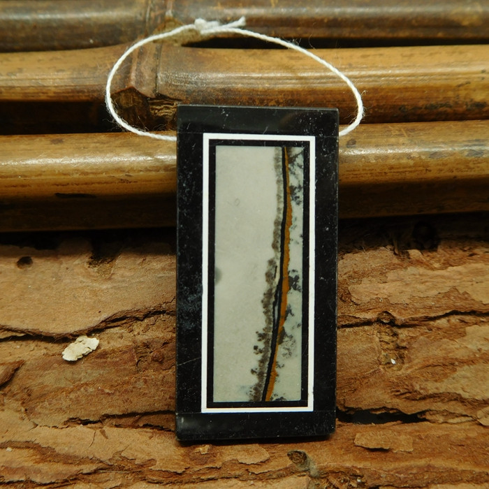 Chouhua jasper and obsidian bead (G1646)