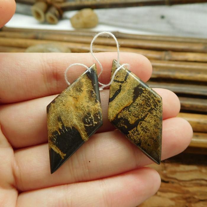 Choahua jasper handmade gemstone jewelry pair bead (G1668)