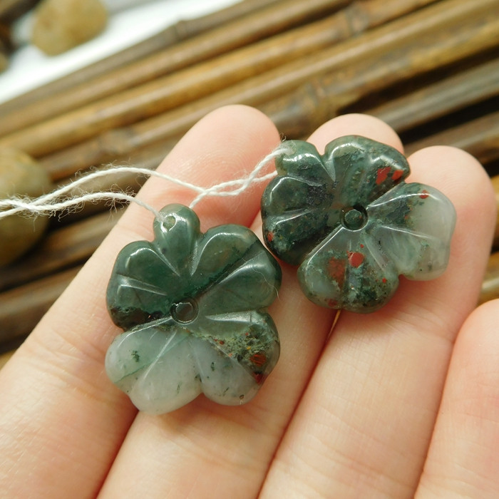 African bloodstone gemstone bead leaf carving pair (G1701)