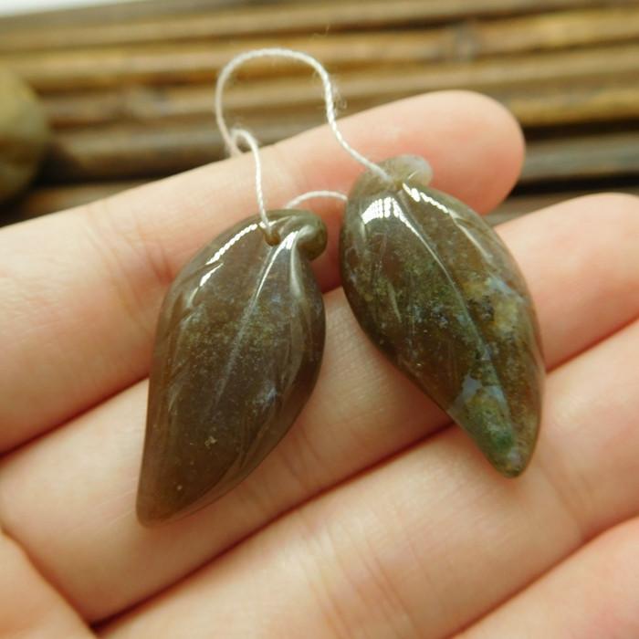 Fancy agate gemstone pair leaf beads (G1710)