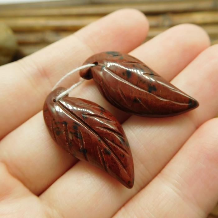 Mahogany obsidian red gemstone leaf beads (G1735)