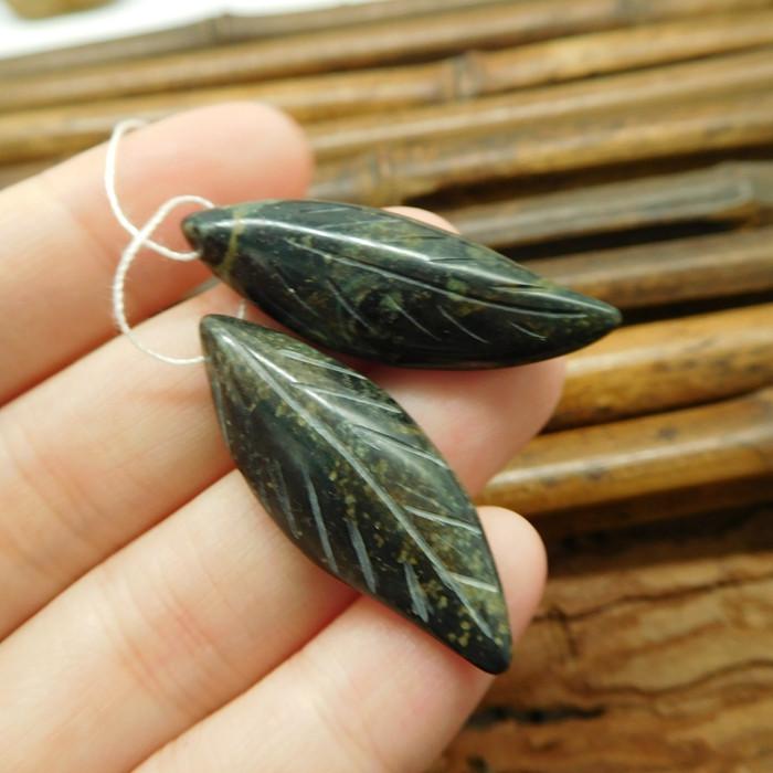 Ocean kambaba long gemstone carving leaf beads (G1755)