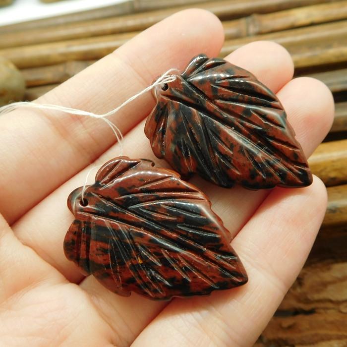 Mohagany obsidian beads