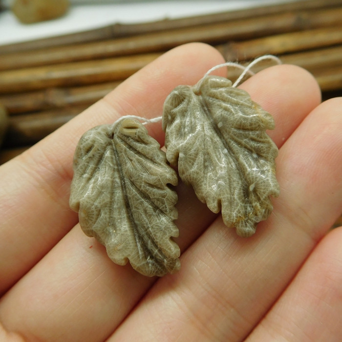 Indonesian coral fossil natural pair gemstone leaves bead (G1783)
