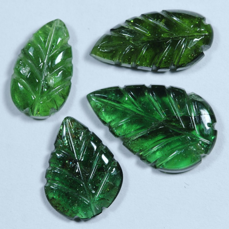 6.30cts Leave Tourmaline Carving Pair